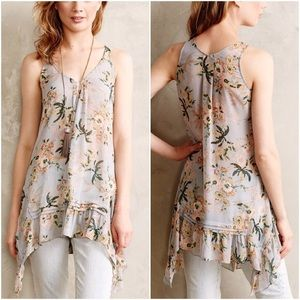 Anthropologie Maeve Magda Ruffle Floral Tunic Tank